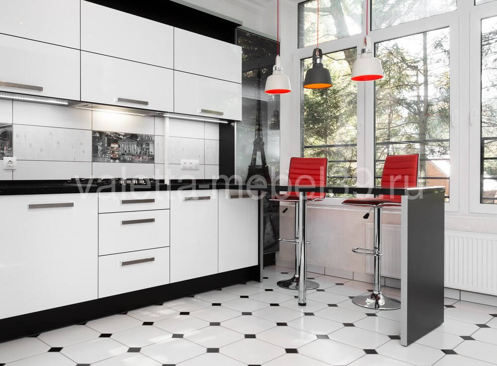 Современная белая угловая кухня от Валетта-мебель
