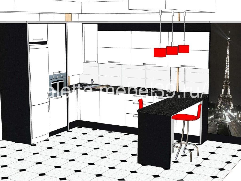 проект белая современная кухня от Валетта-мебель