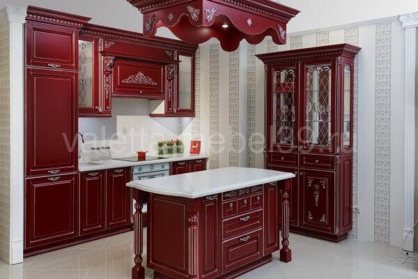 Кухонный гарнитур винного цвета №47 в салоне Валетта мебель