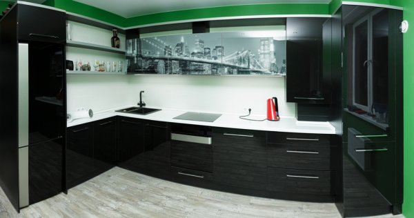 кухня модерн с фасадами из акрила